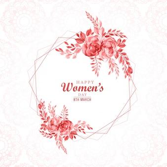Quadro de flor bonita com cartão de dia das mulheres