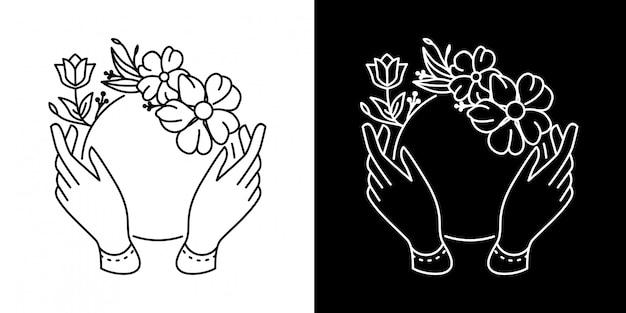 Quadro de flor com mão monoline design