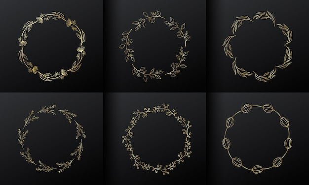 Quadro de flor de círculo dourado para design de logotipo de monograma. borda de flor gradiente de ouro.