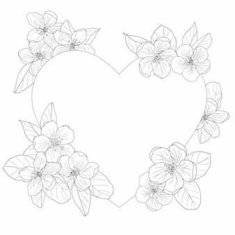 Quadro de flor de maçã, página para colorir
