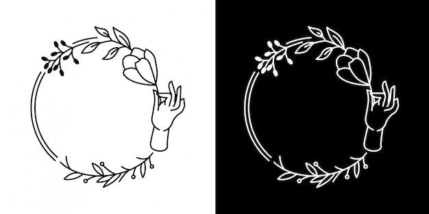 Quadro de flor de mão monoline design
