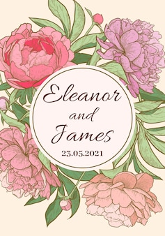 Quadro de flor de peônia vertical um modelo de convite de casamento ilustração em vetor desenhada à mão