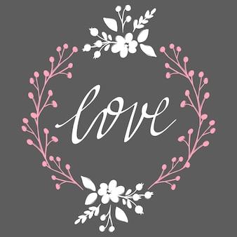 Quadro de flor de vetor. lindo cartão com guirlanda floral