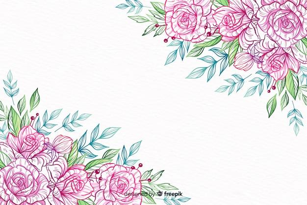 Quadro de flor decorativa desenhada de mão