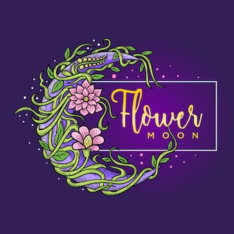 Quadro de flor e lua