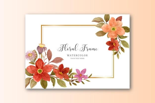 Quadro de flor marrom aquarela