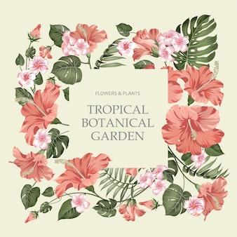 Quadro de flor tropical com texto de modelo em bege