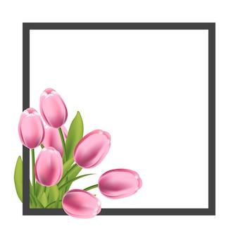 Quadro de flor tulipas realista. modelo em branco para banner de promoção de texto, saudação e primavera.