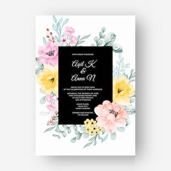 Quadro de flores com cor rosa pastel amarelo para convite de casamento
