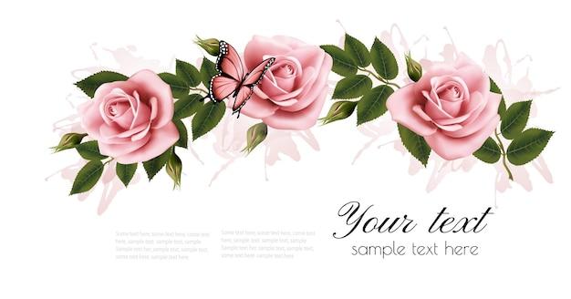Quadro de flores com rosas de beleza rosa. vetor.