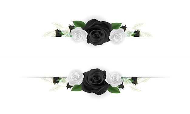 Quadro de flores com rosas preto e brancas