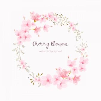 Quadro de flores de cerejeira floral aquarela