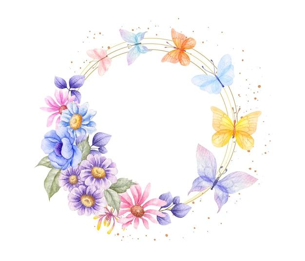 Quadro de flores de primavera com borboletas