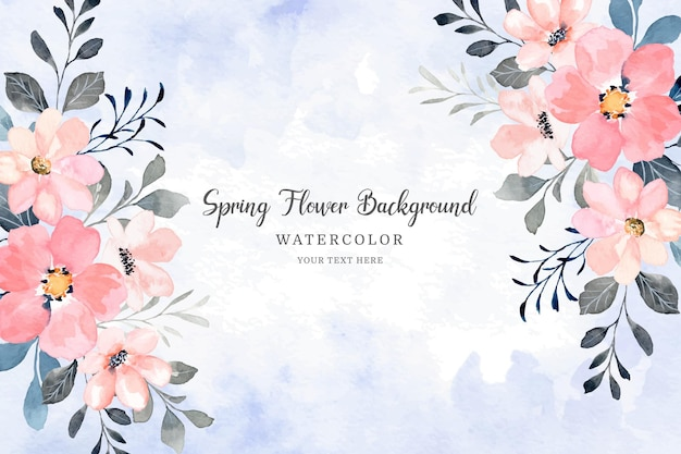 Quadro de flores de primavera floral rosa com aquarela