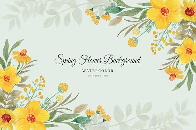 Quadro de flores de primavera fundo floral amarelo em aquarela