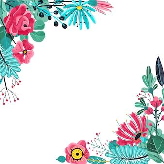 Quadro de flores de verão. aniversário floral da mola da flor da planta de florescência da flor do jardim aniversário da mola para o casamento e a ilustração do convite da festa de aniversário