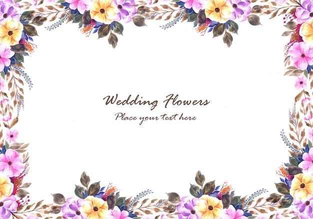 Quadro de flores decorativas de casamento