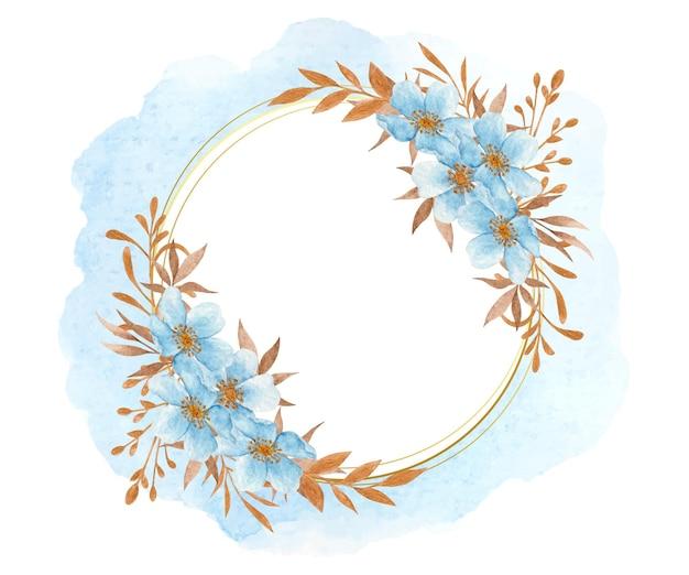 Quadro de flores e folhas em aquarela azul