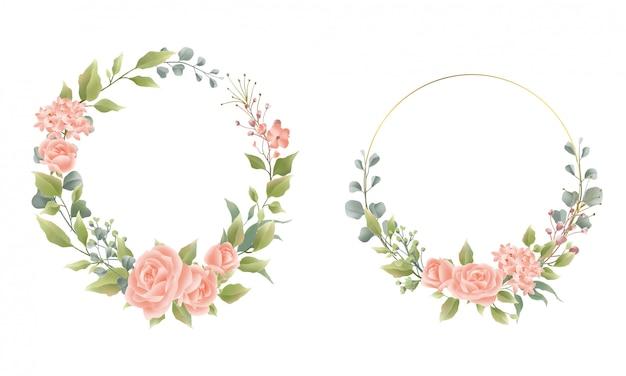 Quadro de flores e grinaldas estilo aquarela
