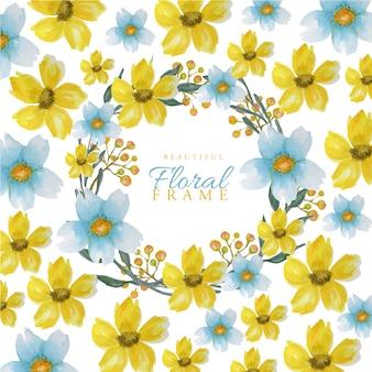 Quadro de flores em aquarela de cores brilhantes lindas