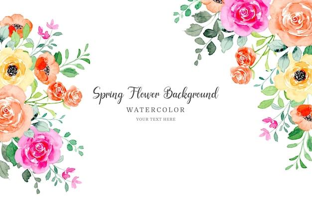 Quadro de flores em aquarela fundo colorido de flores rosa