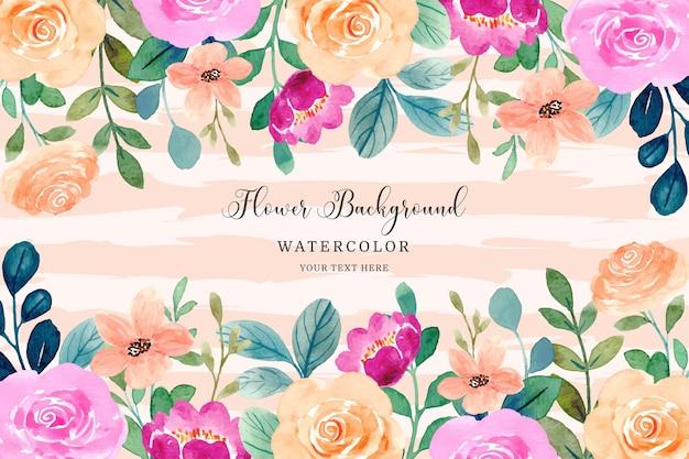 Quadro de flores em aquarela fundo de flor rosa laranja rosa