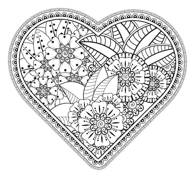 Quadro de flores mehndi em forma de coração.