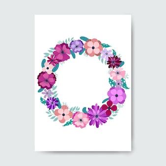 Quadro de flores roxas em círculo