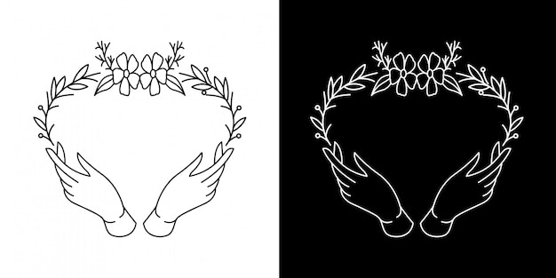 Quadro de folha de mão monoline