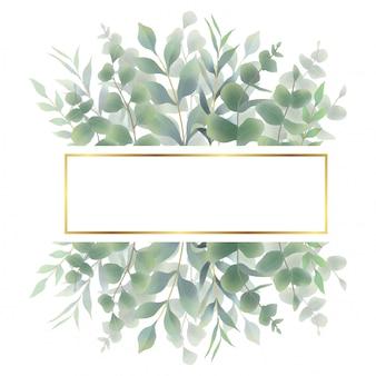 Quadro de folha em aquarela