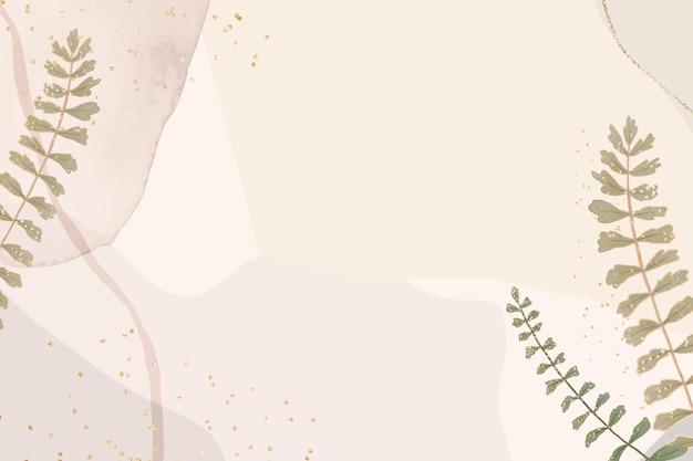Quadro de folha tropical em fundo marrom