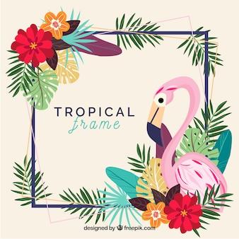 Quadro de folhas com plantas tropicais e pássaro