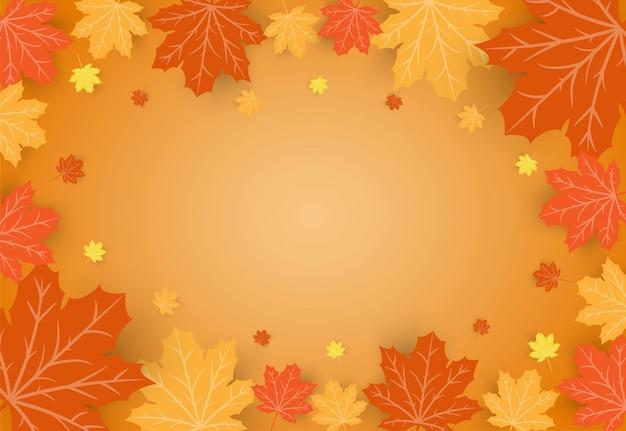 Quadro de folhas de bordo laranja