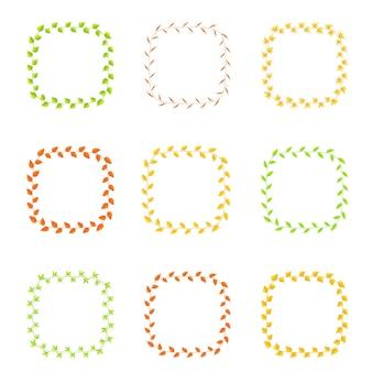 Quadro de folhas de diferentes cores e tipos