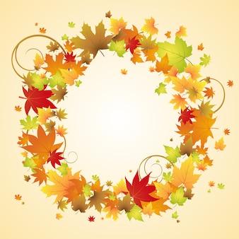 Quadro de folhas de outono com espaço