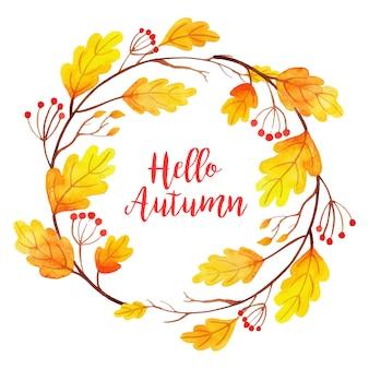 Quadro de folhas de outono em aquarela