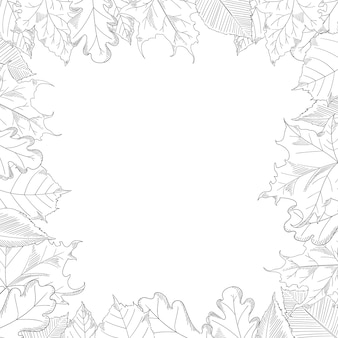 Quadro de folhas de outono em um estilo de desenho