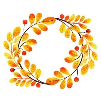 Quadro de folhas de outono linda aquarela