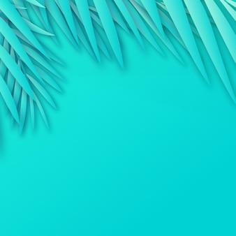 Quadro de folhas de palmeira de papel tropical com sombra suave. vetor.