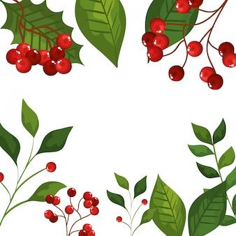Quadro de folhas e galhos com ícones de natal de sementes