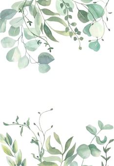 Quadro de folhas em aquarela.