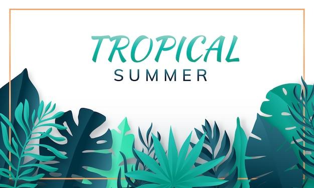 Quadro de folhas tropicais. fundo de verão. estilo de corte de papel. ilustração vetorial