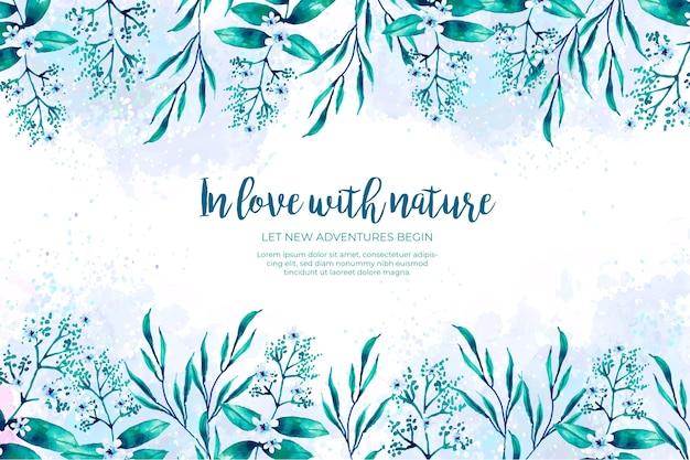 Quadro de folhas verde e azul aquarela