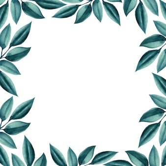 Quadro de folhas verdes em aquarela de casamento.