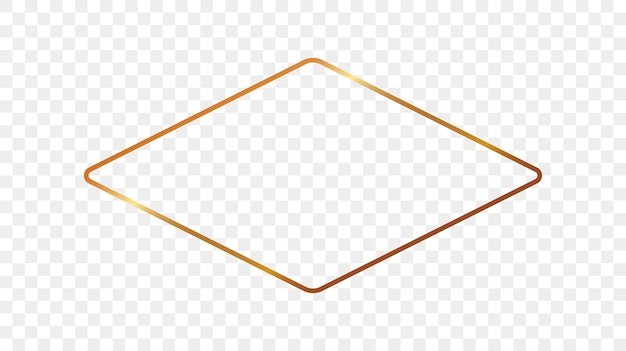 Quadro de forma de losango arredondado brilhante ouro isolado em fundo transparente. moldura brilhante com efeitos brilhantes. ilustração vetorial.