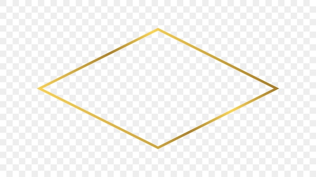 Quadro de forma de losango brilhante ouro isolado em fundo transparente. moldura brilhante com efeitos brilhantes. ilustração vetorial.