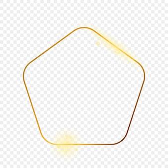 Quadro de forma de pentágono arredondado brilhante ouro isolado em fundo transparente. moldura brilhante com efeitos brilhantes. ilustração vetorial.
