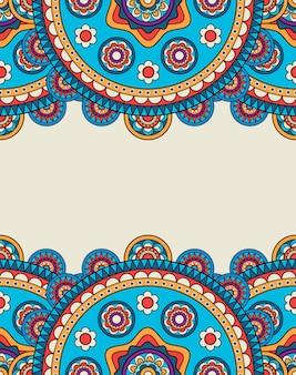 Quadro de fronteiras floral doodle indiano