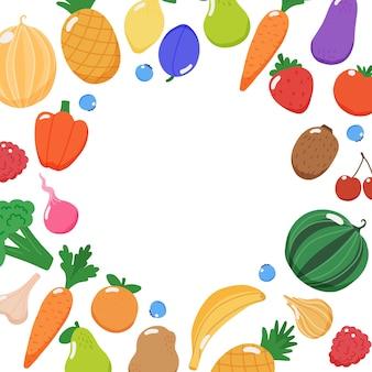 Quadro de frutas e vegetais com espaço de cópia