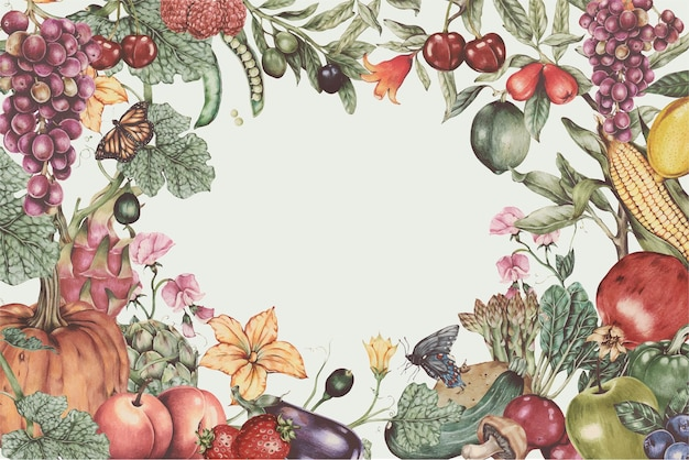 Quadro de frutas e vegetais frescos